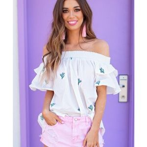 NWT outfit Off shoulder cactus top & pink shorts